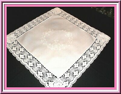 Fabulous Antique Whitework Embroidered Table Topper Or Doily Wide Lace Trim