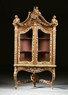 Italian Rococo Vitrine,Style Parcel Gilt and Painted, Gorgeous 18/19th C. 1700s