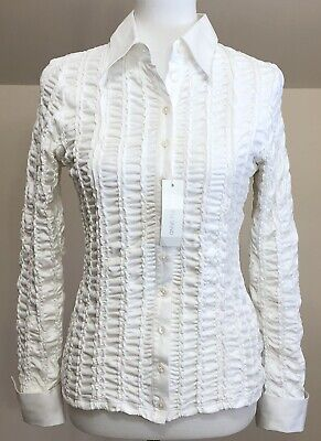 1a3b8d057d603 Women s Anne Fontaine Blouse Size 42 White Long sleeves New Without Tags