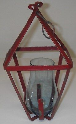 Antique Forged Wrought Iron Hanging Candle LIGHT Lantern blue glass