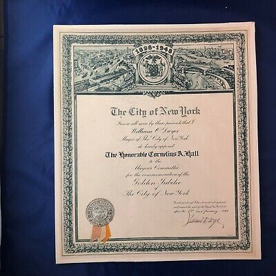 New York City Appointment Certificate 1948 Mayor Dwyer Signed Cornelius A Hall