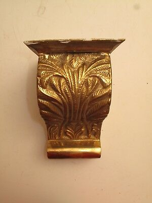 Antique Brass Mantle Clock Wall Bracket Display Shelf 19th C Scrolly Acanthus