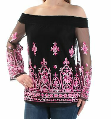 808b5face3d7b7 INC  89 Womens New 1091 Black Embroidered Off Shoulder Long Sleeve Top S B+B