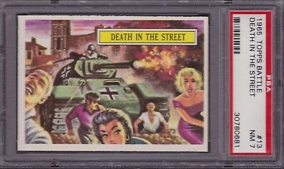 1965 Topps Battle #13 - Psa 7 - Death In The Street - Graded Trading Card