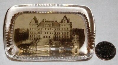 Antique c.1900 Capitol Albany, NY Glass Paperweight