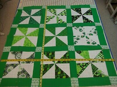 Handmade Unfinished Quilt Top St. Patrick's Pinwheels Approx.39x39(91)