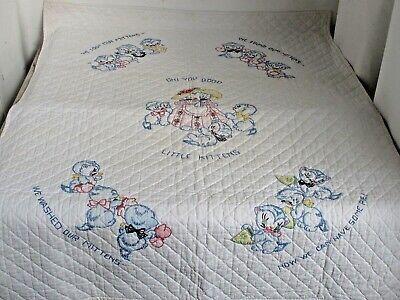 """Antique Crib Quilt 33"""" X 42"""" Adorable Embroidered Kitten Story c.1930's"""