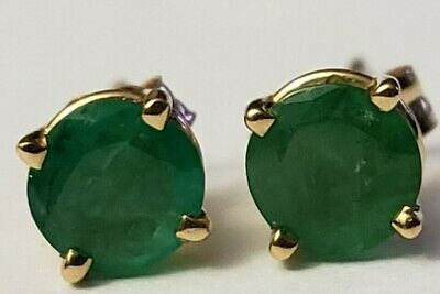 14k Yellow Gold 5mm Round Natural Green Heavy Included Emerald Studs 1 carat?