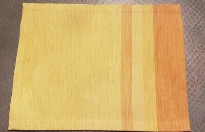 """Set of 4 NWOT CRATE and BARREL """"Fraction"""" PLACEMATS Spring Yellow Orange Modern"""