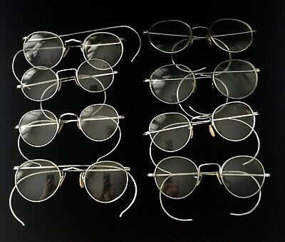 Antique Lot of 8 Silver Tone / White Metal  SPECTACLES - AS-IS-AS-SHOWN