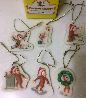 Set of 6 CURIOUS GEORGE small Christmas Ornaments Universal Studios decorations