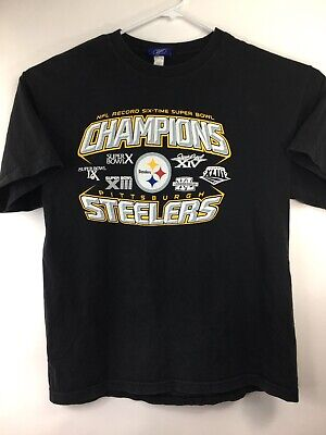 3b66d90a8 Pittsburgh Steeler NFL Record Six-time Super Bowl Champions T-shirt Large