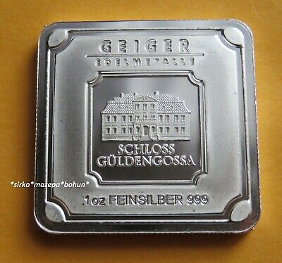 Geiger Edelmetalle 1 oz 999 Pure Silver Bar - Square Series - Proof Like - New