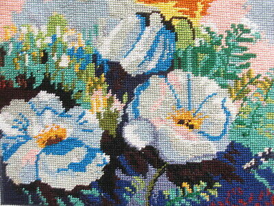 "New, Never been framed completed needlepoint blue flowers 11.1""x8.5"""