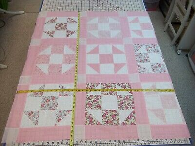 Handmade Unfinished Quilt Top Girls Pink & White Shoo- Fly  Approx. 46x47 (78)