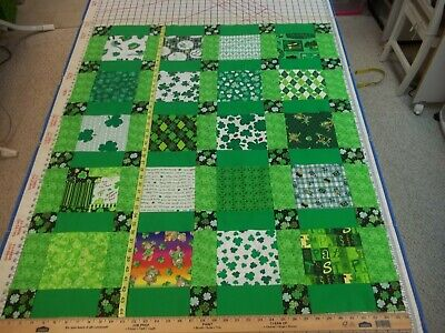 Handmade Unfinished Quilt Top St. Patrick's Green Sashing Approx.36x44(79)