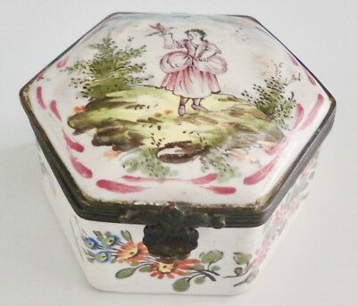 Beautiful Antique 18th Century French Veuve Perrin Porcelain Figural Box: NR!