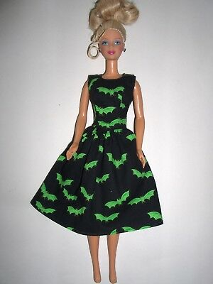 Handmade Barbie Clothes - Black w/Green Bats Party Dress - Made in the USA