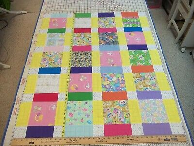 Handmade Unfinished Quilt Top Easter Eggs & Bunnies Sashing Approx. 36x44(81)