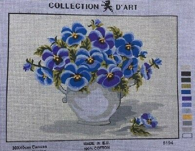 Tapestry - Printed Canvas - Pansies - Made in E.U for Collection D'Art