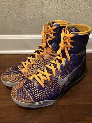 buy online edcbb 40478 Nike Kobe IX 9 Elite High Showtime Laker Yellow Purple Size 13 630847 500