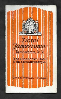 ~1925 HOTEL JAMESTOWN NY Photos Map Brochure CHAUTAUQUA LAKE REGION Rare VG Cond
