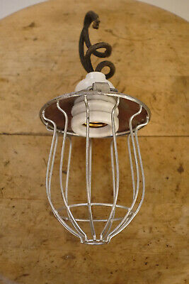 Hubbell Bryant Bulb Metal Cage Industrial Machine Age Table Lamp Shade Oc White
