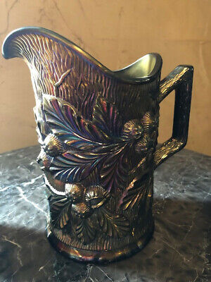 Antique Northwood Carnival Glass Acorn Burrs Amethyst Pitcher Circa 1910