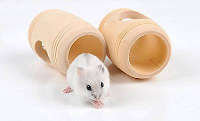 Natural Wooden Barrel Shape Hamster Mouse House Cage Swing Toy Molar Tool Gift