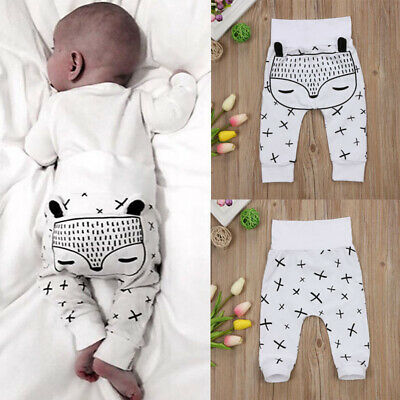 Toddler Newborn Baby Boy Girl Long Harem Pants Trousers Leggings Fox Bottoms UK