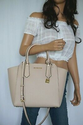 257c2b9730 Nwt Michael Kors Hayes Large Pbbled Leather Tote Shoulder Bag Pink Ballet