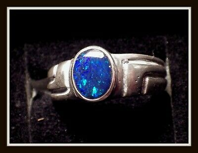 STERLING SILVER  Coober Pedy/Boulder Opal DOUBLET Ring