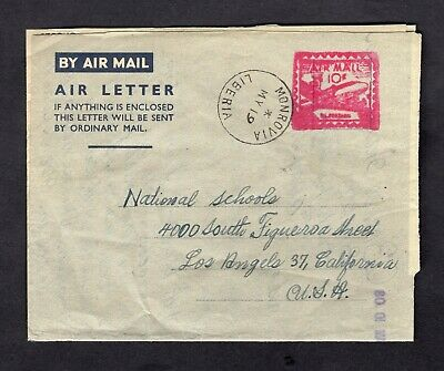Old 1956 Liberia 10c Air Mail Meter Stamp Aerogramme Air Letter Sheet Monrovia