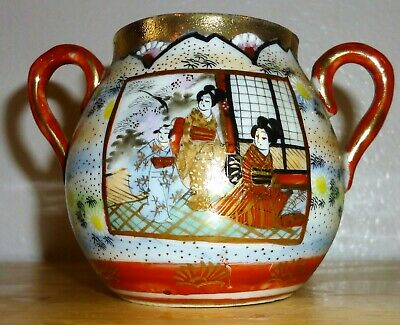 "Vintage Oriental Hand Painted Sugar Bowl - 5"" W x 3 1/4"" H Beautiful, Perfect!!"