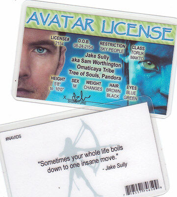 Avatar License - JAKE SULLY - Sam Worthington collectors card Drivers License