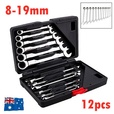 12Pcs 8-19mm Fixed Head Ratchet Gear Spanner Wrench CR-V STEEL Tool w/ Box AU