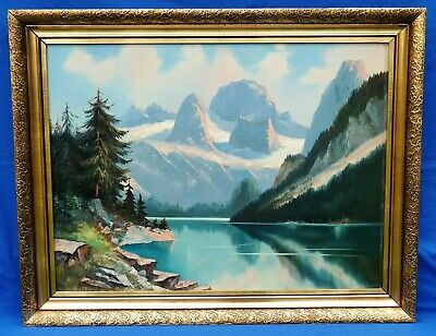 OIL PAINTING LANDSCAPE - AUSTRIA DACHSTEIN GOSAUSEE - SIGNED - c. 1950