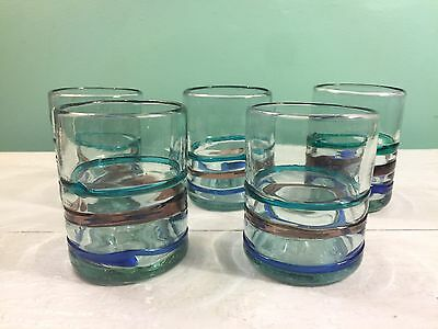 5 Teal Green Blue Purple Band Mexican Bubble Art Glasses Old Fashioned Rocks