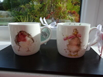 2 Royal Worcester Wrendale Mugs Robin/Duck New 1st Quality