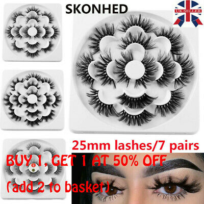 SKONHED 7 Pairs 25mm 6D Mink Hair False Eyelashes Thick Wispy Fluffy Lashes NEW