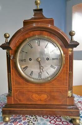 Edwardian Inlaid Mahogany Double Fusee Bracket Clock Serviced & Overhauled