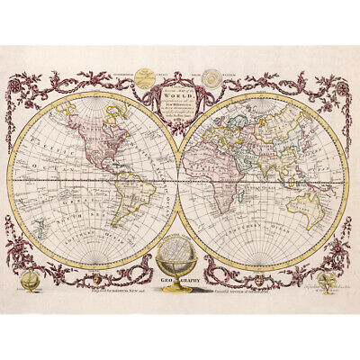 Map Of The World Vintage Art Print Canvas Premium Wall Decor Poster