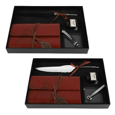 Vintage Style Calligraphy Feather Writing Quill Metal Nib Dip Pen Holder Set