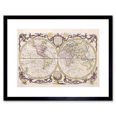 Map Of The World Vintage Art Print Framed Poster Wall Decor