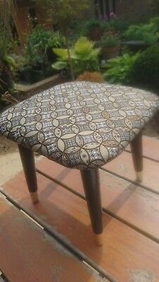 Fab Vintage Retro MCM Reupholstered Tiny Square Foot Stool Pouffe Black & Gold