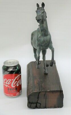 Lost Wax Method Detailed Rearing Horse with Green Patina Bronze Sculpture