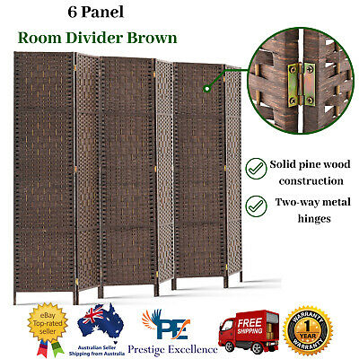 New Artiss 6 Panel Privacy Screen Room Divider Wood Foldable Stand Folding Brown