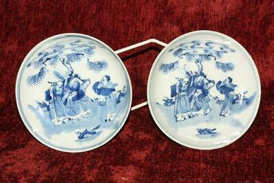 RARE Fine 18th/19thC Chinese Blue & White IMMORTALS Saucer Dishes Qianlong Marks