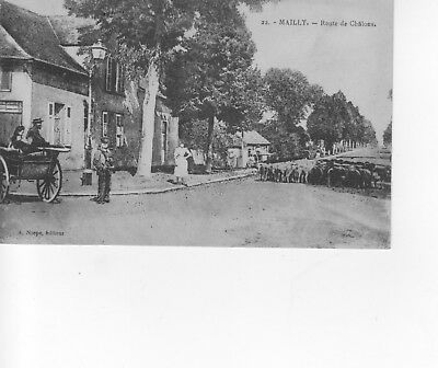 cpa aube mailly route de chalons animée