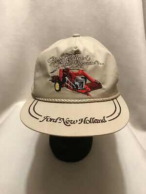 f3058aa891814 Vintage Ford New Holland Machine Tractor K Brand Strapback Hat Cap Made USA